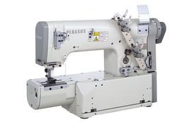 Multi-needle, double chainstitch, needle feed,looper-in-line machine(s)